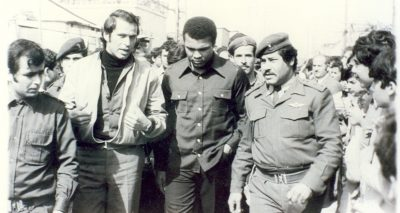 Muhammed Ali in a Palestinian refugee camp in southern Lebanon, 1974